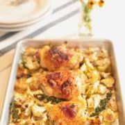 Sheet pan of roasted chicken and cauliflower