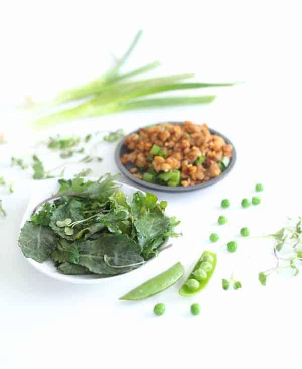 Tempeh, baby kale, peas