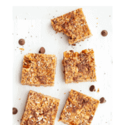 squares of no-bake, almond butter, dark chocolate and chia granola bars