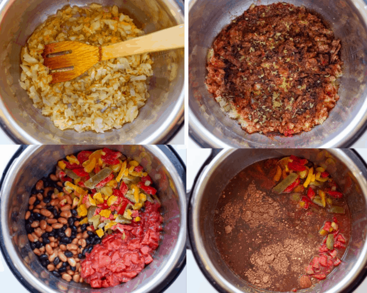 Four steps for making Instant Pot Vegetarian Chili, saute onion and garlic, add spices, add beans, peppers and tomatoes, add water and cocoa powder