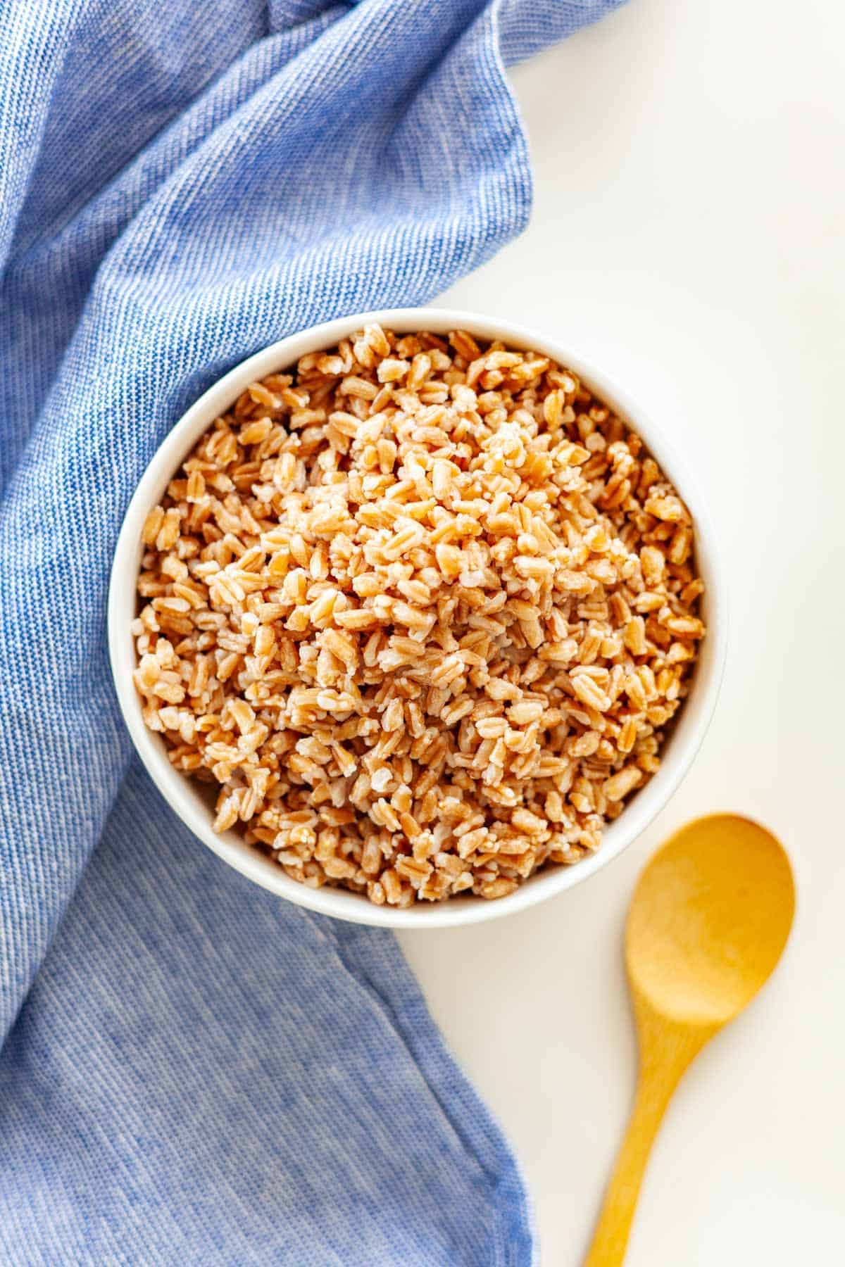 A bowl of cooked farro on a white background with a blue towel and small bamboo spoon