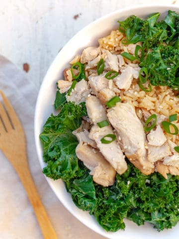 White bowl filled with slices of soy sauce chicken thigh over brown rice with kale