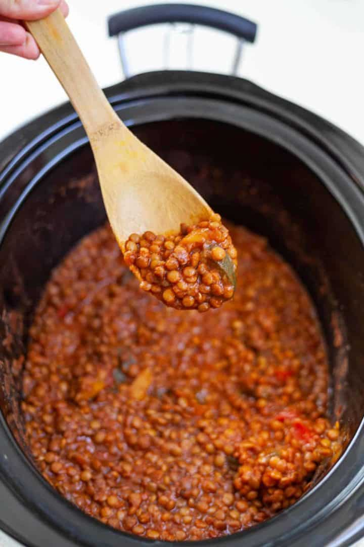 Slow cooker filled with lentil sloppy joes