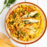 Bowl with with turmeric rice with flecks of carrot and dill and slices of chicken