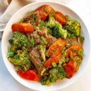 Crockpot Beef and Broccoli with carrots in a bowl