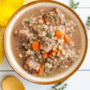 Bowl of beef and barley stew