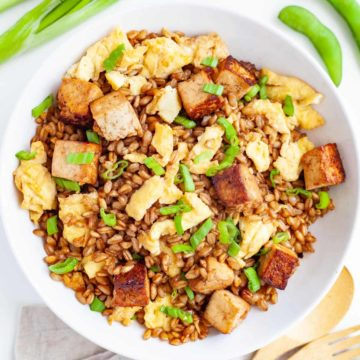 bowl of barley and egg fried rice with tofu