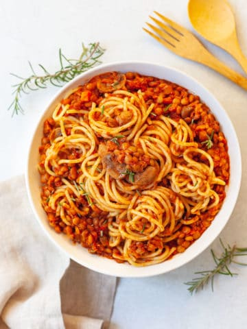 Bowl of spaghetti with lentil bolognese sauce