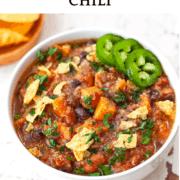 A bowl of Quinoa Sweet Potato Chili