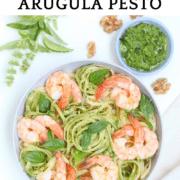 Bowl of shrimp linguine with arugula pesto
