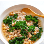 farro soup with chickpeas and kale