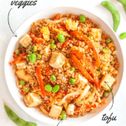 Bowl of quinoa fried rice with tofu