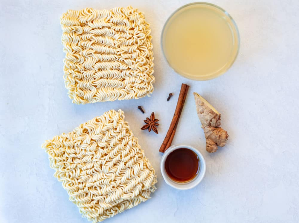 dried ramen noodles with spices and broth