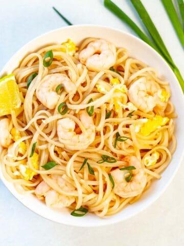 rice noodle stir-fried with egg and shrimp
