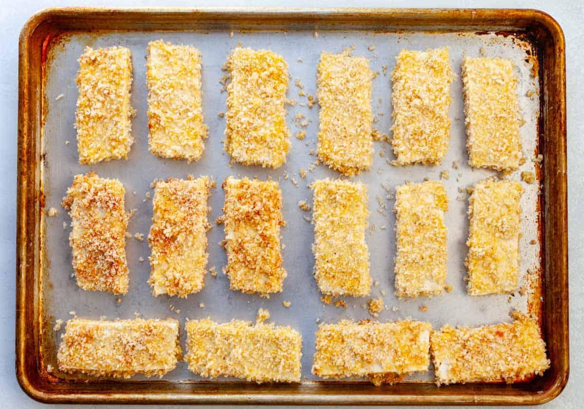tofu dredged in panko on a sheet-pan
