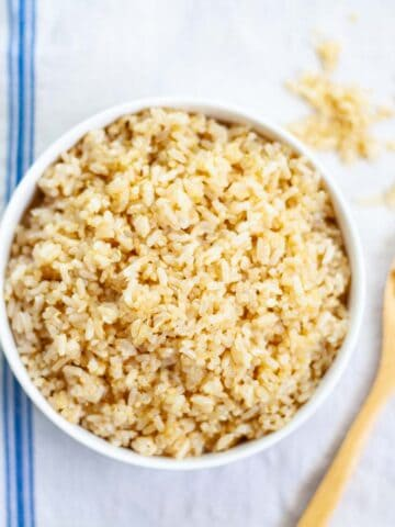 cooked brown rice and quinoa