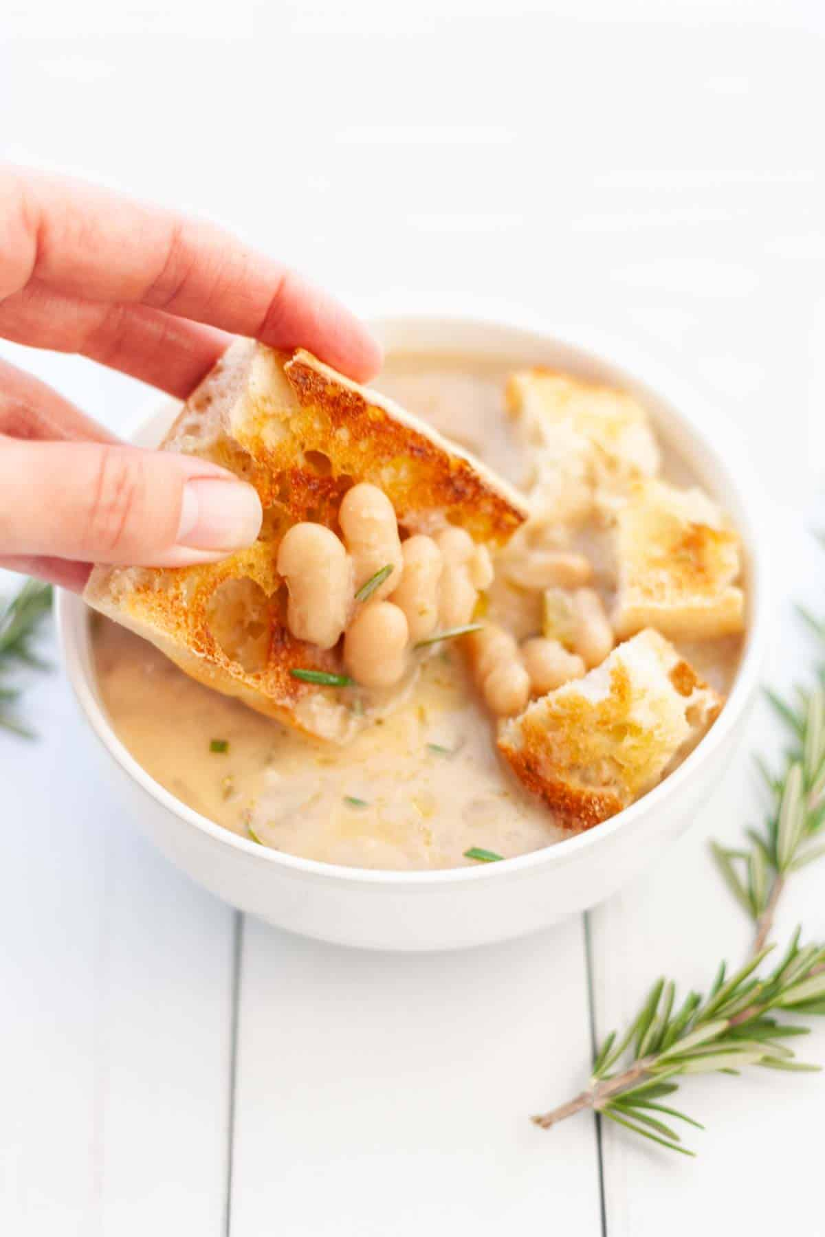 bowl of white bean soup