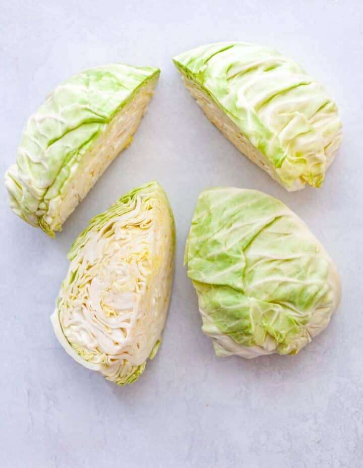 wedges of raw green cabbage