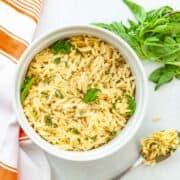 bowl of orzo