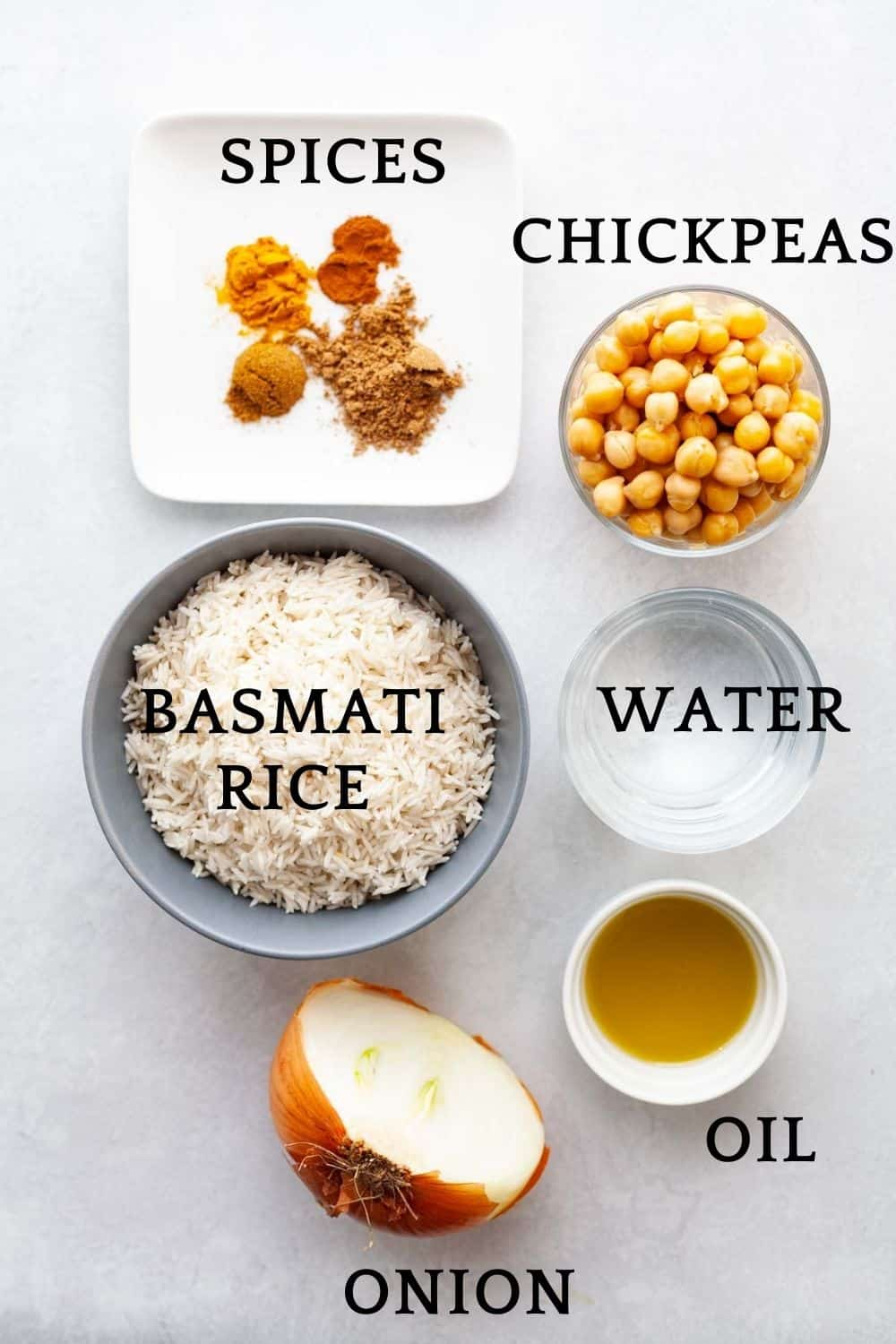 bowls of ingredients to make Instant Pot basmati rice: rice, water, oil, onion and spices