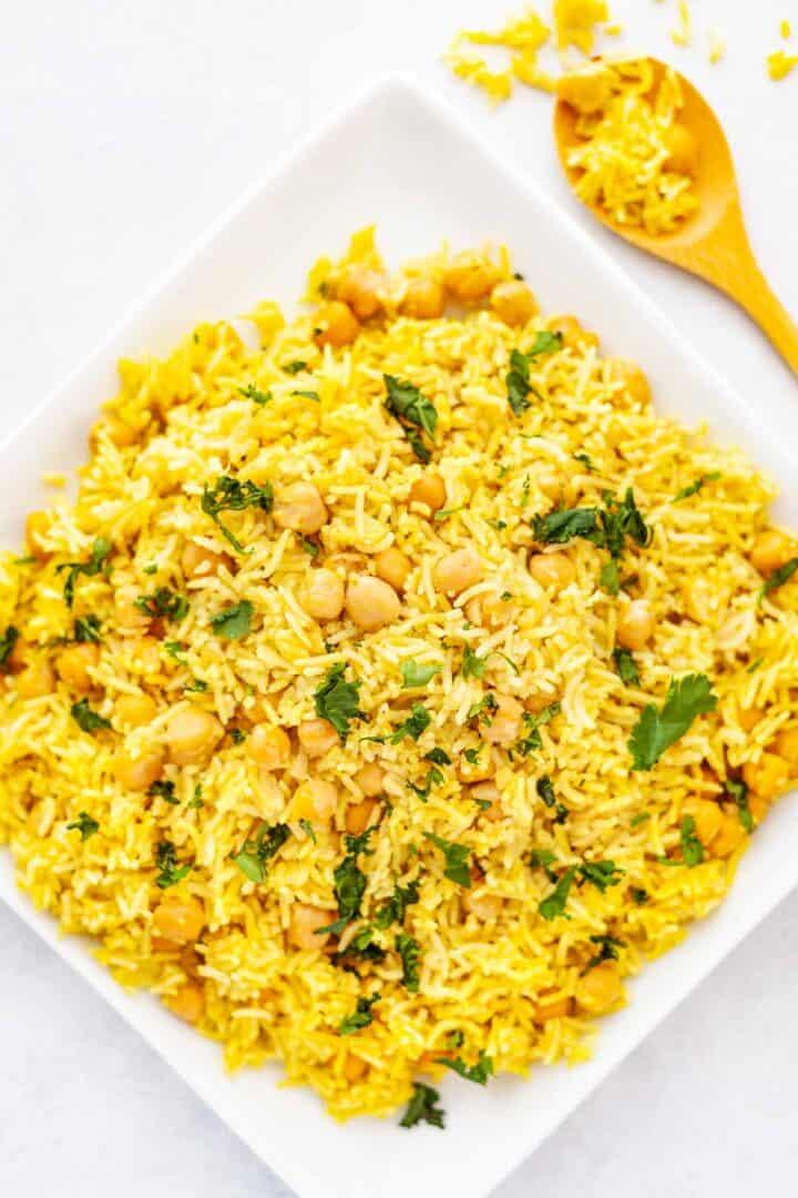 yellow turmeric basamati rice with chickpeas