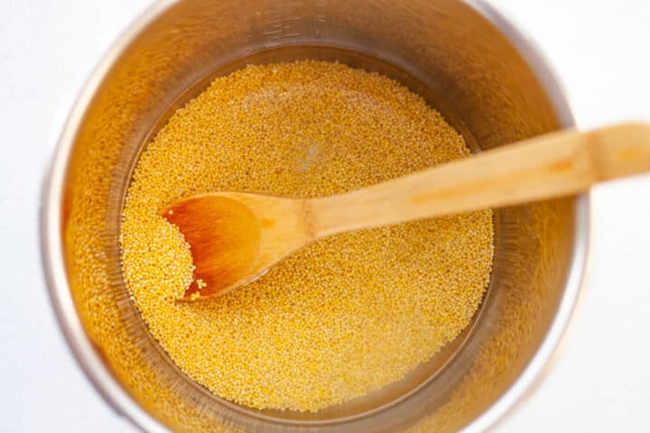 raw millet and water in a pressure cooker