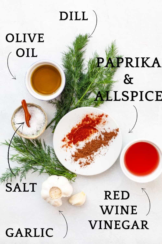 ingredients fro Mediterranean marinade - garlic, red wine vinegar, paprika and allspice, dill, olive oil, salt