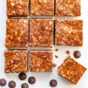 homemade nut-free granola bars made with sunflower seed butter and chocolate chips