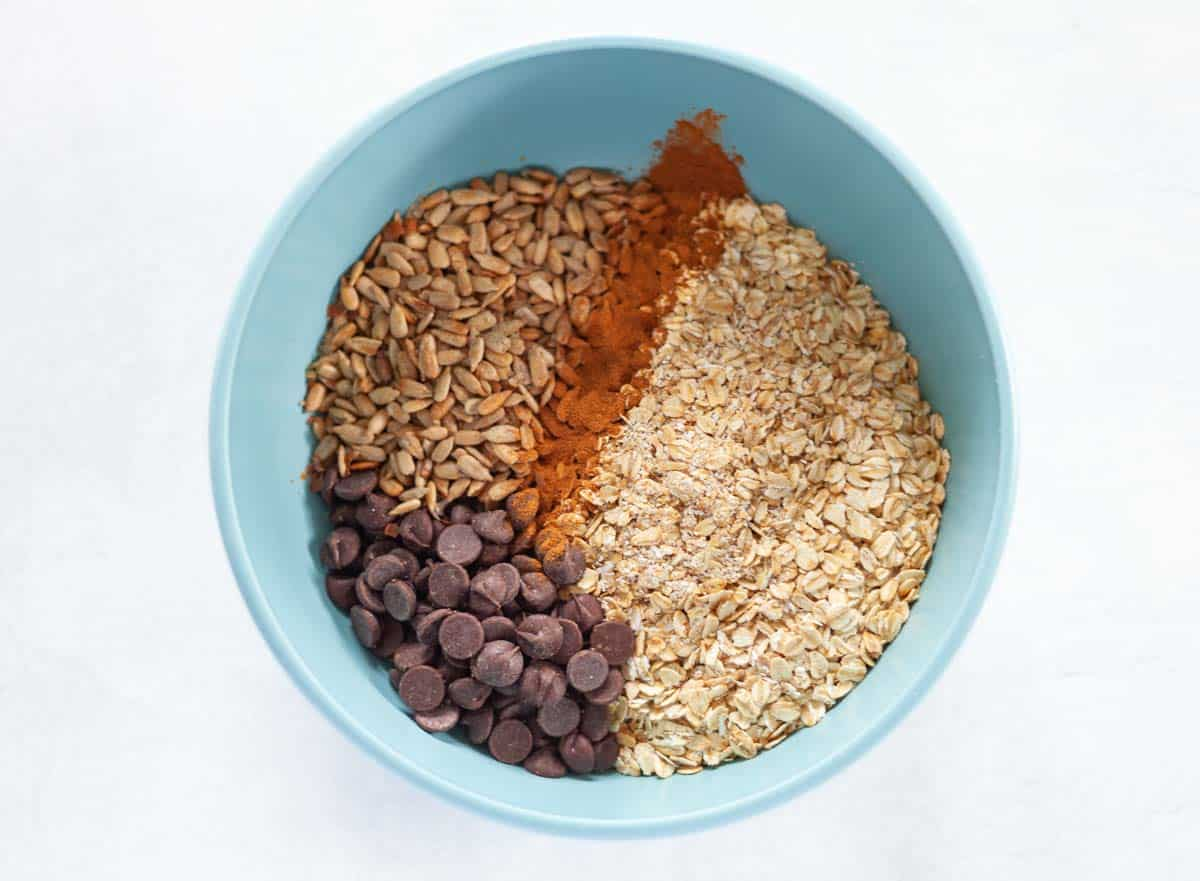 dry ingredients: oats, chocolate chips, sunflower seeds, cinnamon
