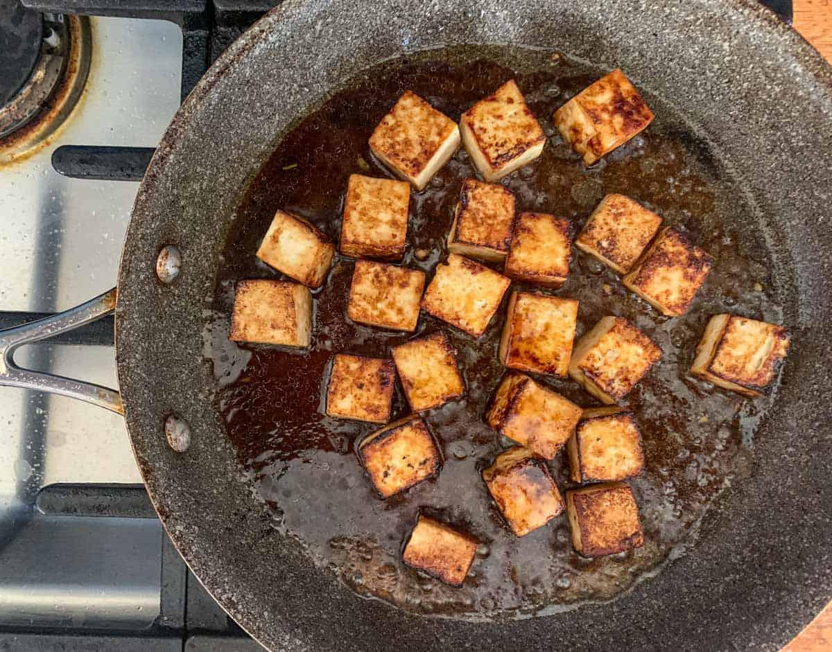 tofu braising in sauce
