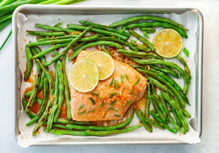 cooked salmon on a pan