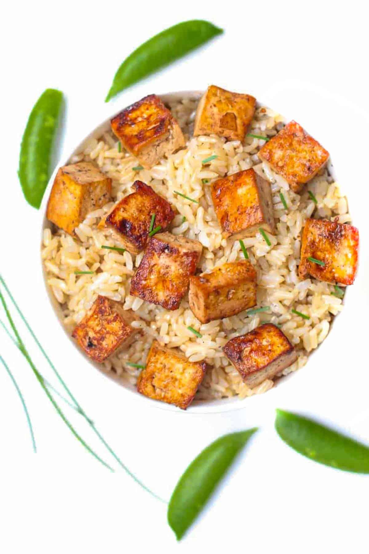 tofu in a bowl of brown rice