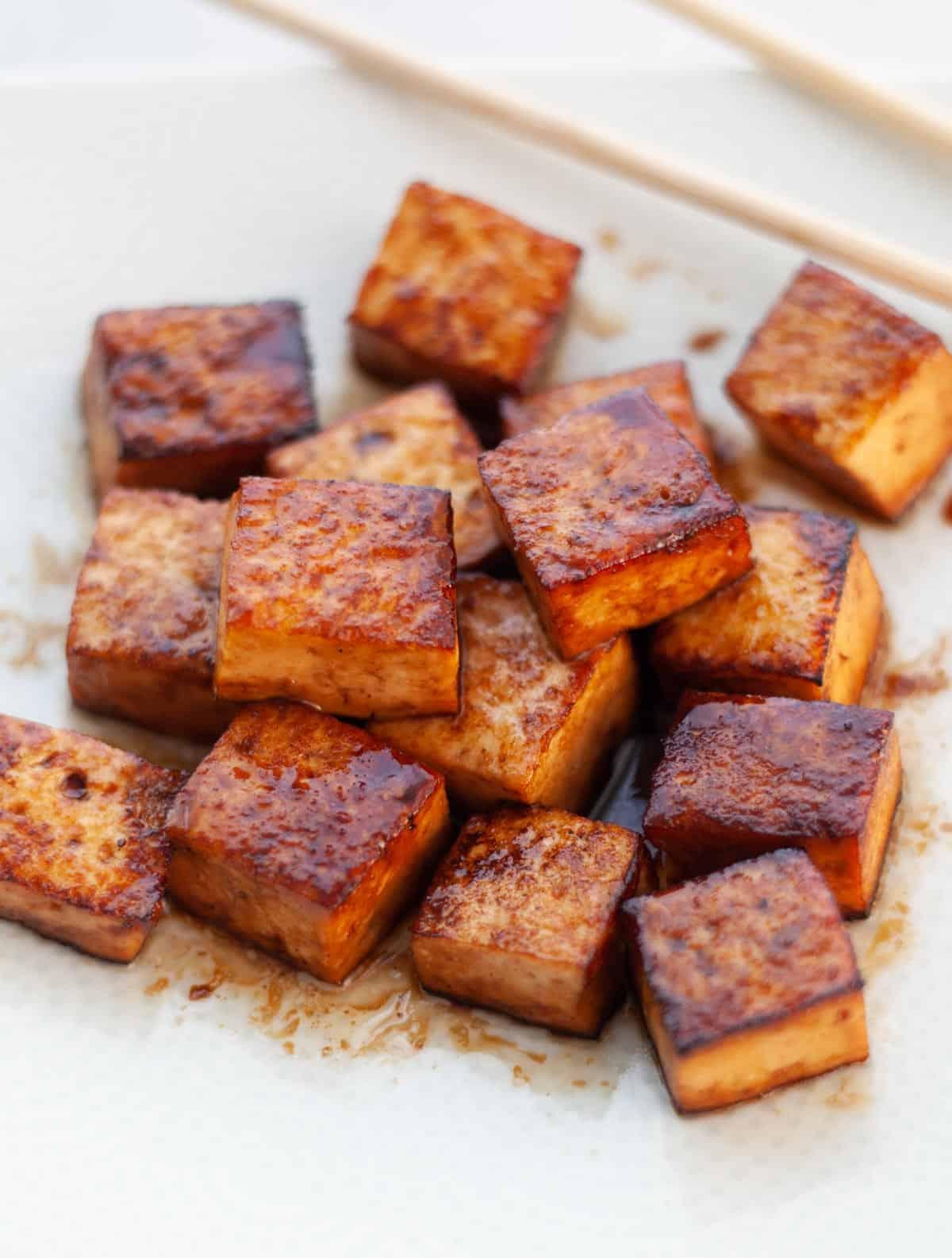 squares of cooked tofu
