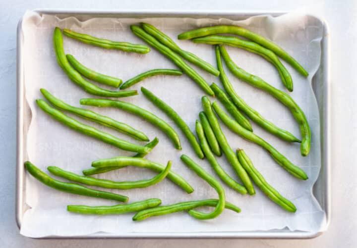 green beans on a sheet-pan