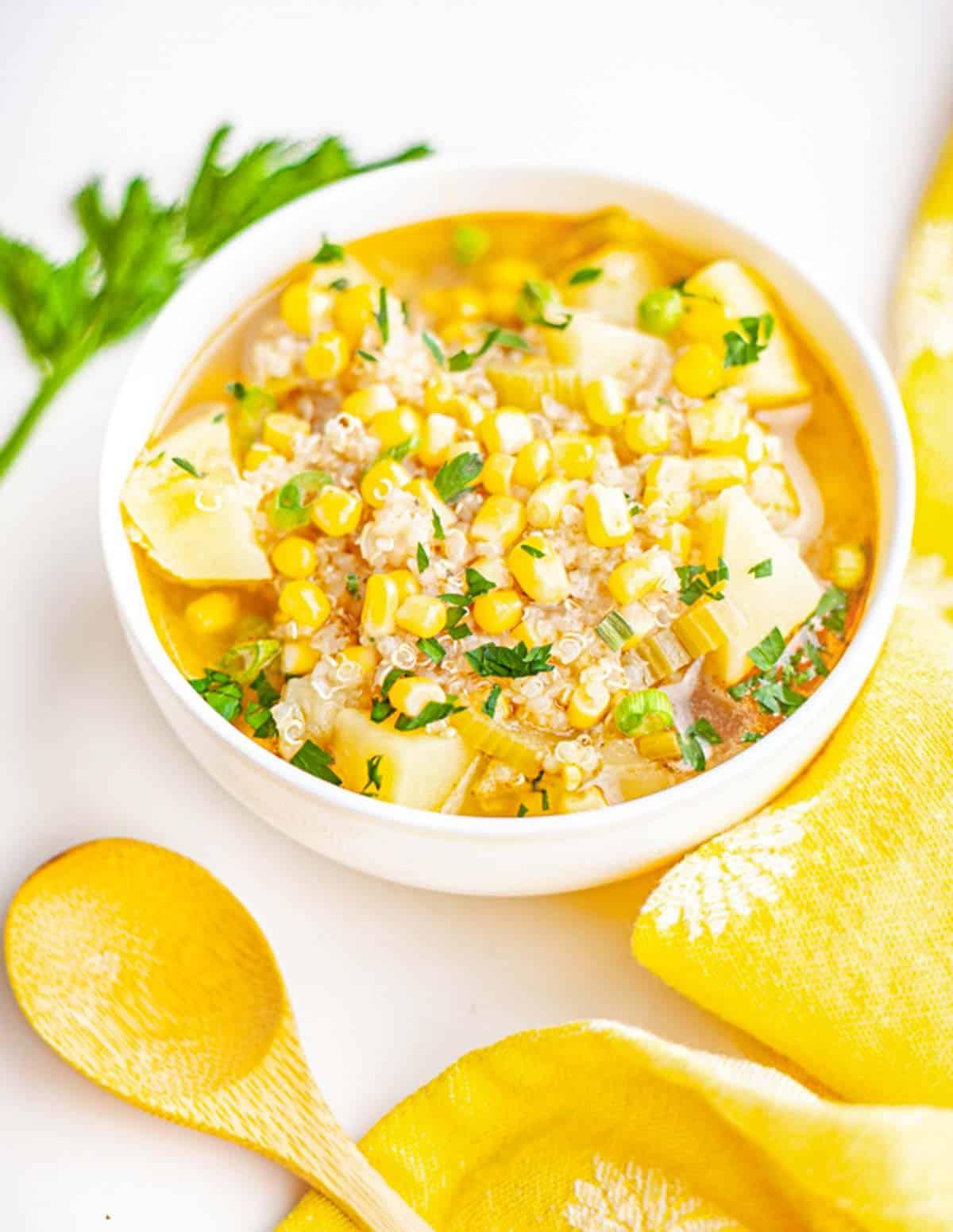 bowl of quinoa potato sopu