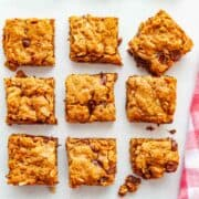 squares of almond butter chocolate chip bars