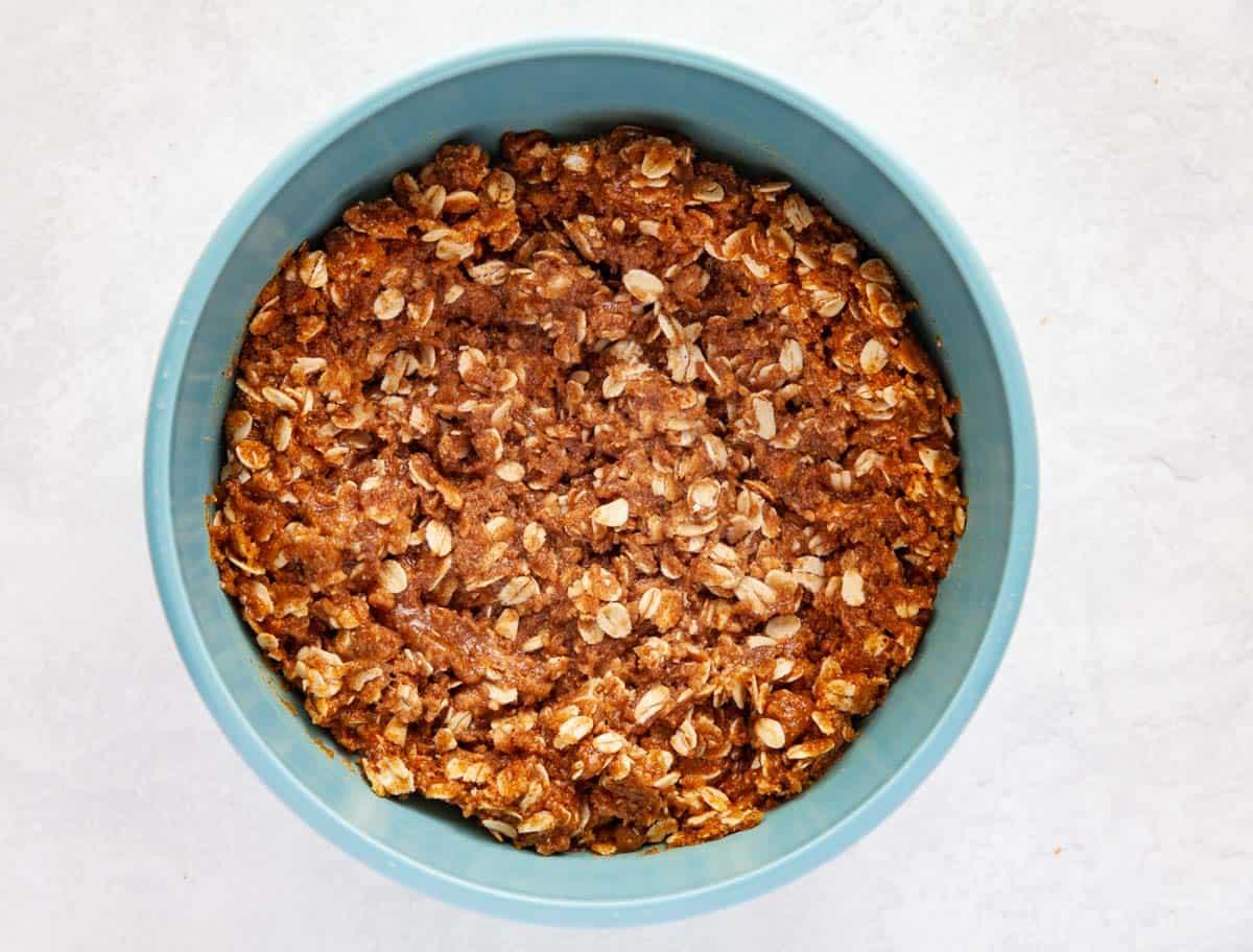 a bowl of batter for oat bars
