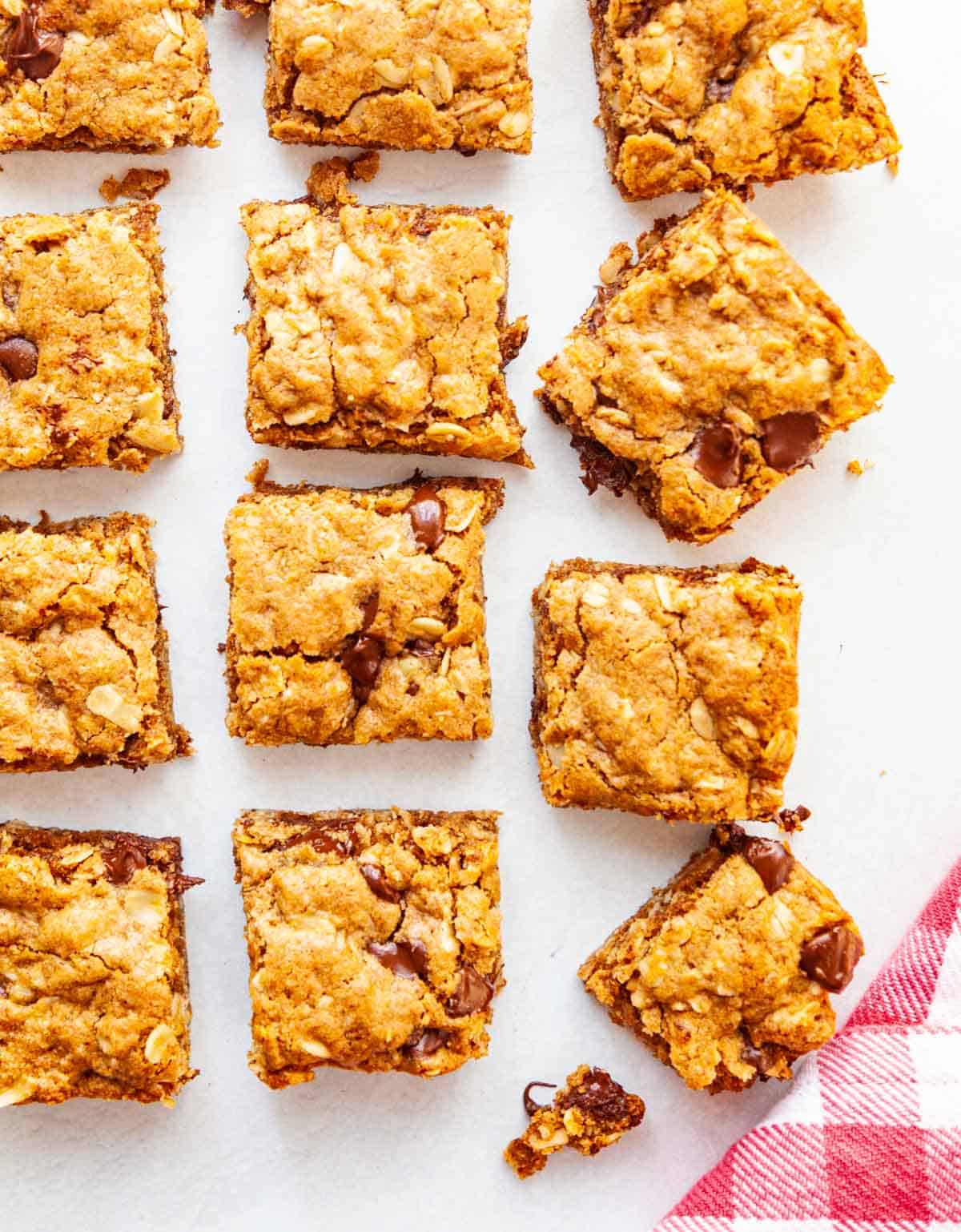 squares of oatmeal bars on a gray background
