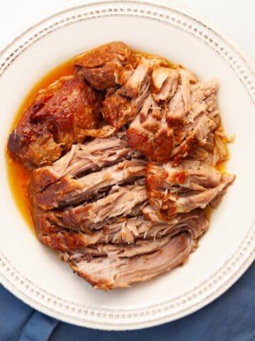 plate of shredded pork shoulder