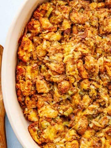 pan of brioche stuffing