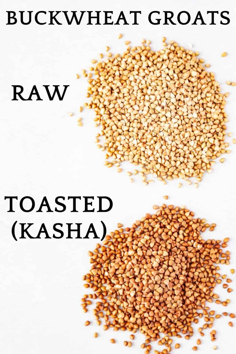 uncooked raw and toasted buckwheat groats
