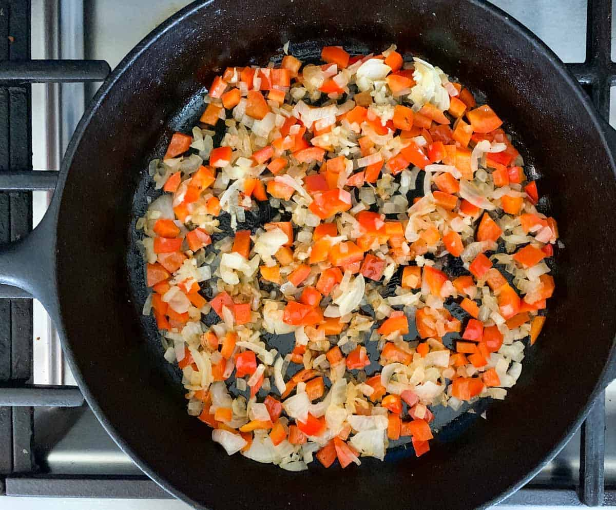 step 1: saute onion and bell pepper