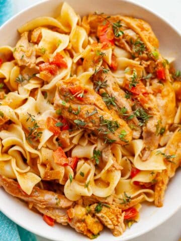 creamy chicken paprika in a bowl over egg noodles