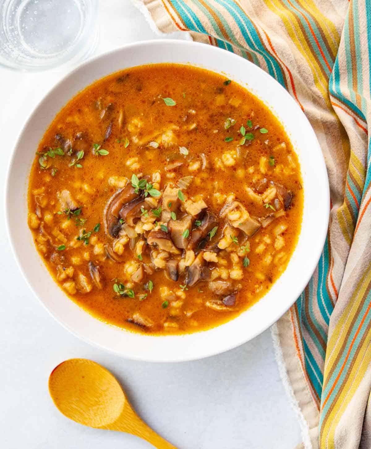 bowl of mushroom and pearl barley soup