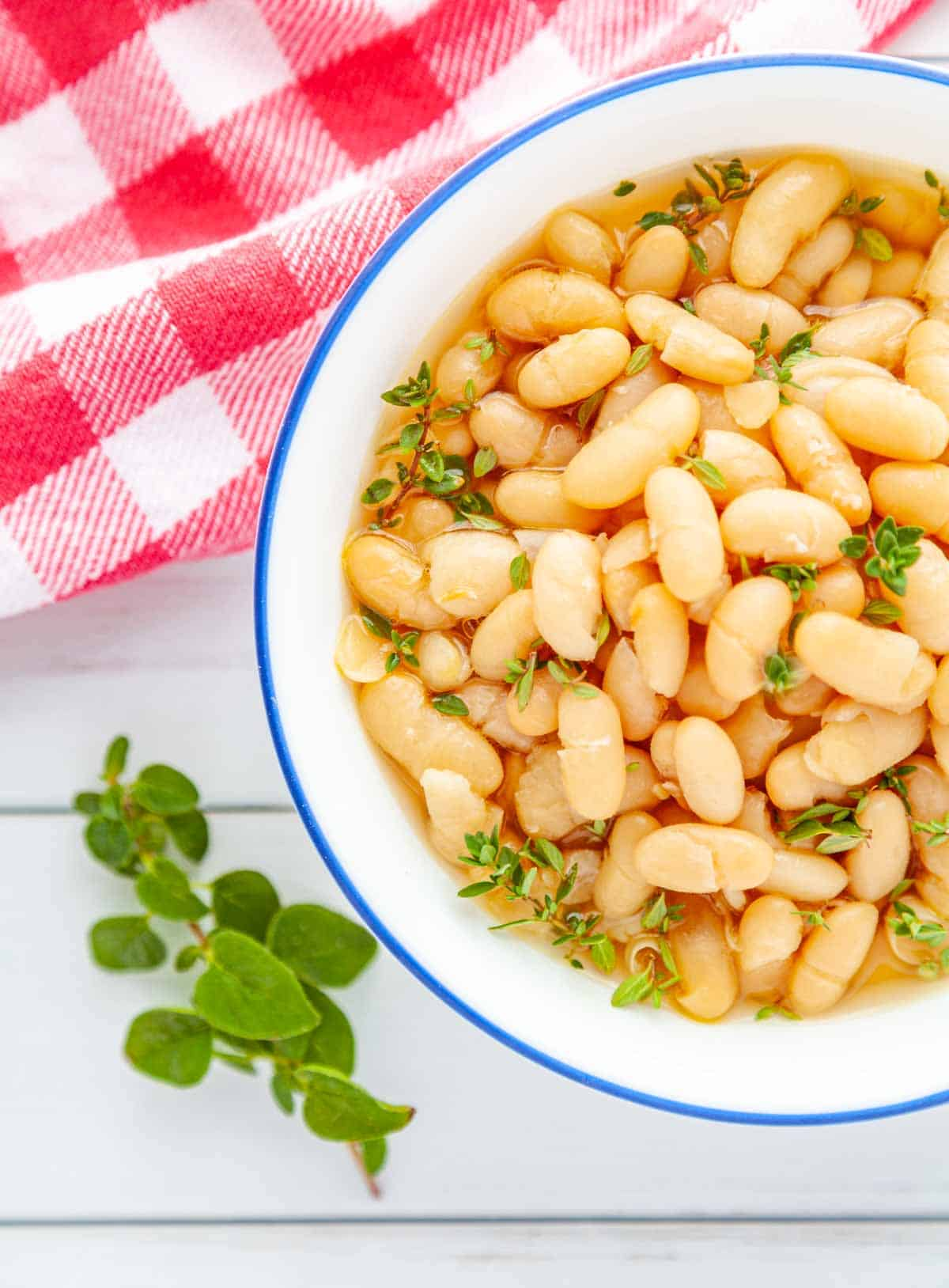 bowl of cooked cannellini beans