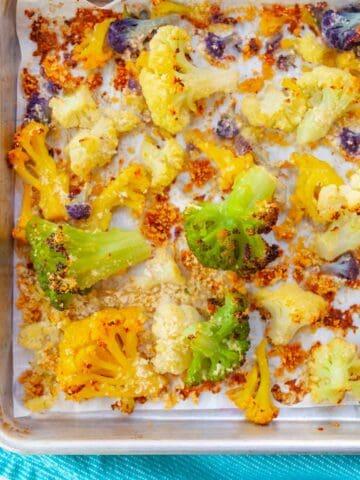 sheet-pan of roasted rainbow cauliflower with breadcrumbs